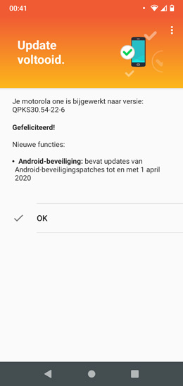 Motorola One april patch