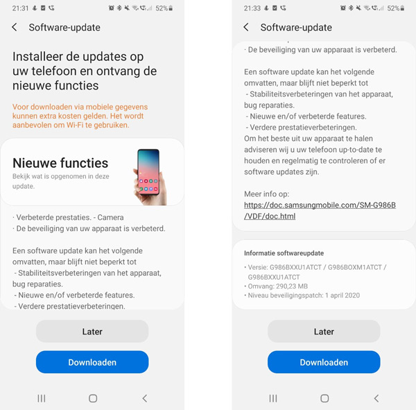 Samsung Galaxy S20 april 2020 update