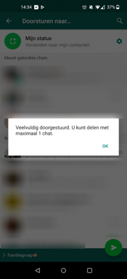 WhatsApp 1x doorsturen