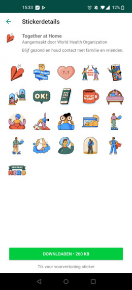 WhatsApp corona stickers together at home