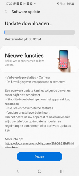 Galaxy S20 camera-update mei 2020