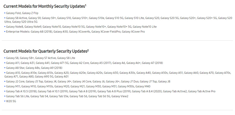Galaxy S8 beveiligingsupdate kwartaal
