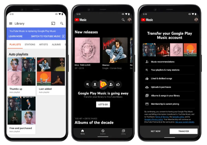Google Play Music YouTube Music transfer