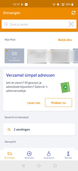 PostNL app adresverzoekje