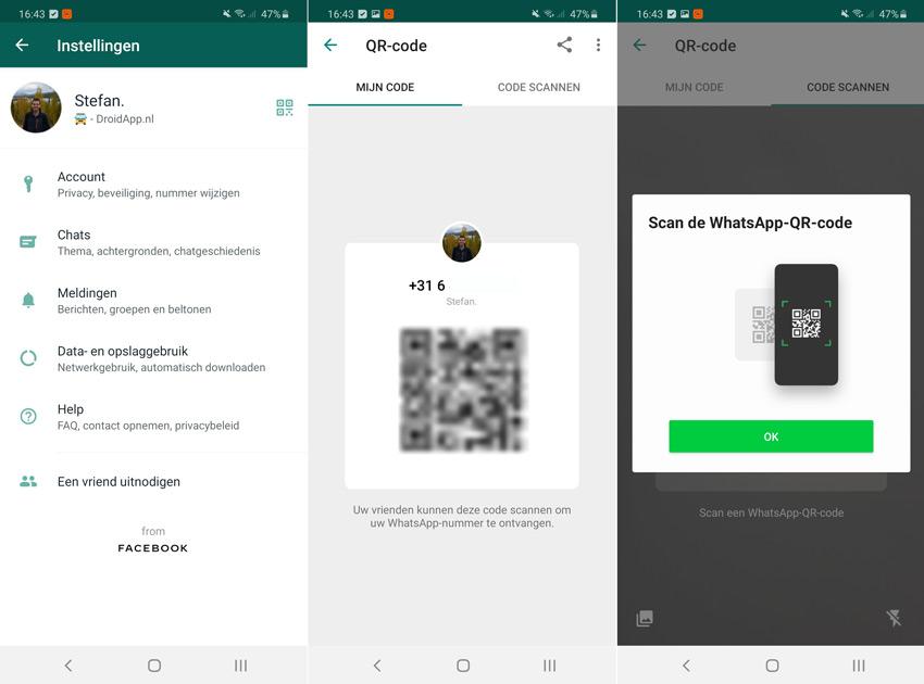 WhatsApp QR-code contacten
