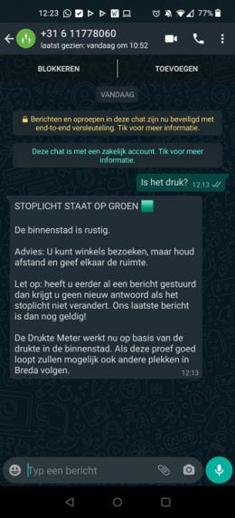 WhatsApp druktemeter Breda