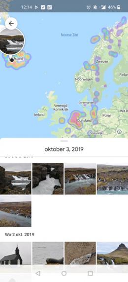 Google Foto's heatmap