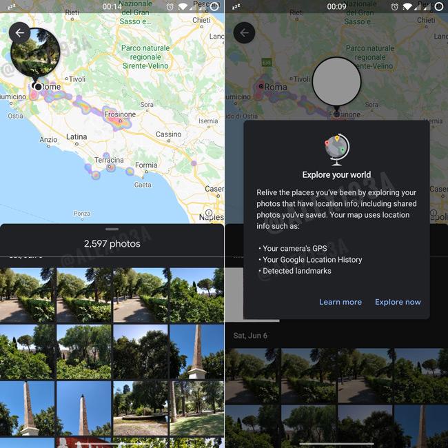 Google Foto's locatie map