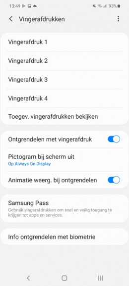 Samsung Galaxy S20 vingerafdruk