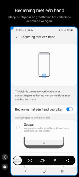 Samsung Galaxy bediening met één hand