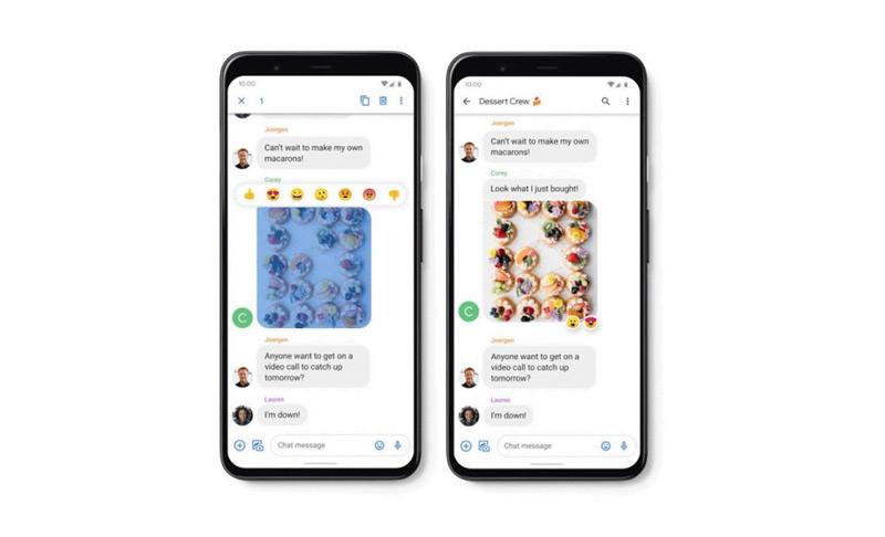 Google Berichten iMessage reacties