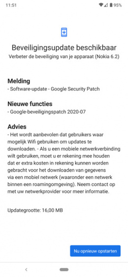 Nokia 6.2 beveiligingsupdate juli 2020