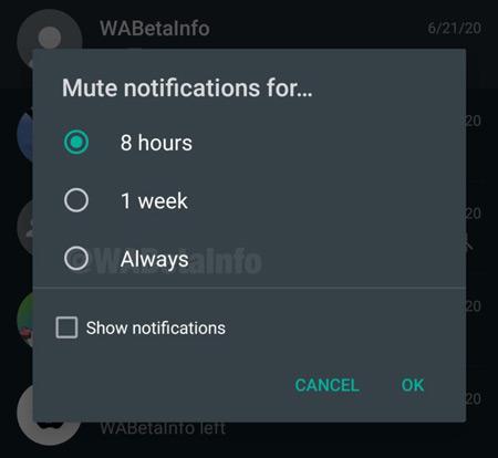 altijd dempen whatsapp