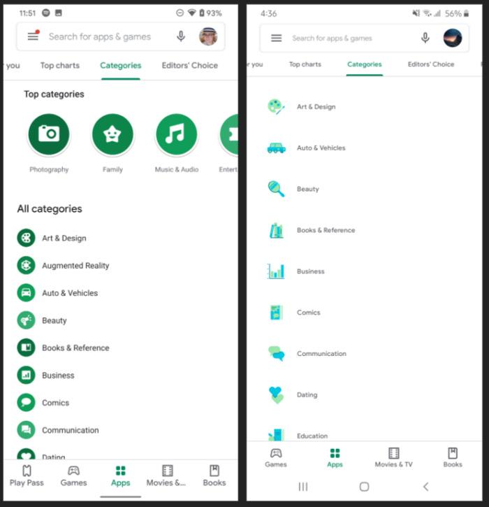 google play store app kleur