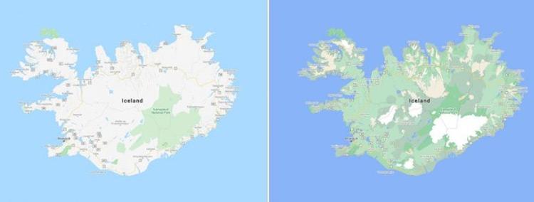Google Maps IJsland kaartweergave