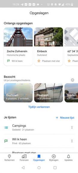 Google Maps carrousel