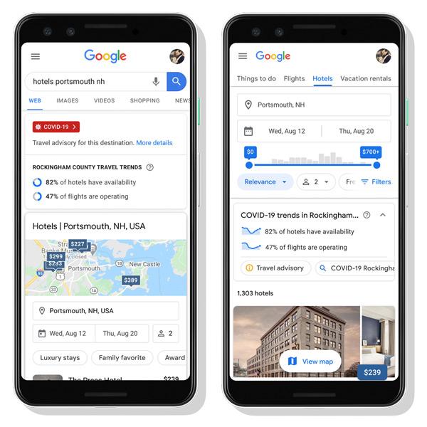 Google Zoeken reisadvies corona