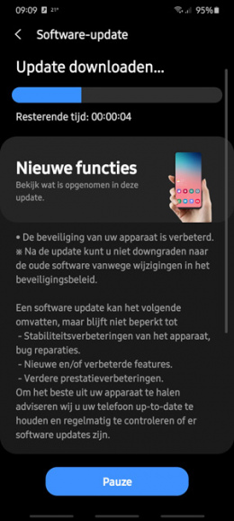 Samsung Galaxy S20 beveiligingsupdate augustus 2020