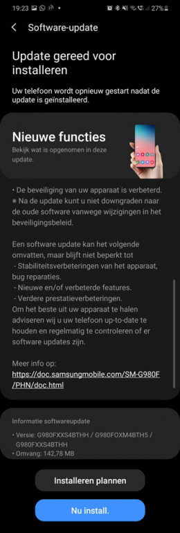Galaxy S20 september update