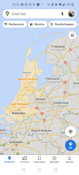 Google Maps COVID-19 laag