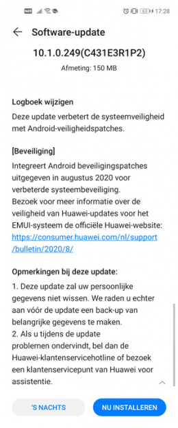 Huawei Nova 5T augustus update