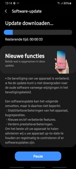 Galaxy S20 oktober 2020 update
