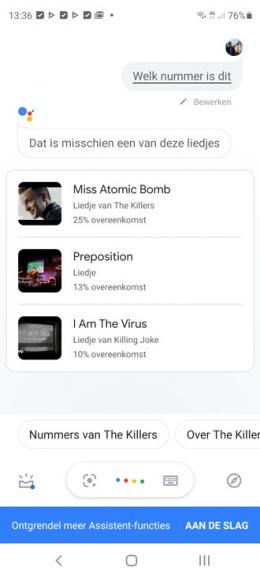 Google Assistent neuriën muziek