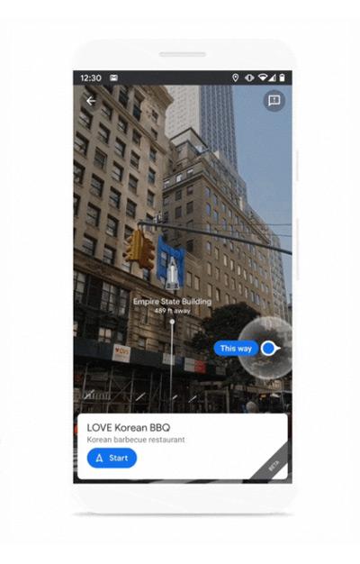 Google Maps AR Live View locatie