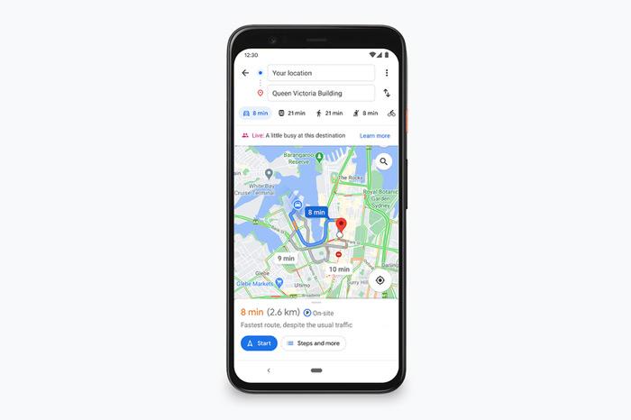 Google Maps drukte route