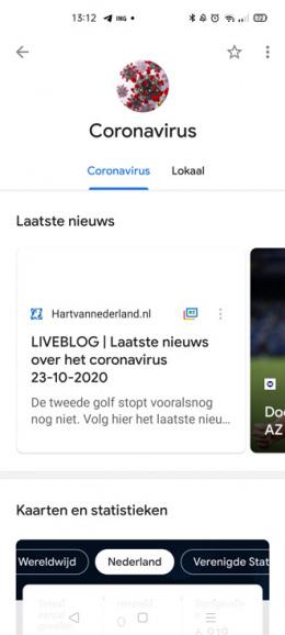 Google Nieuws coronavirus