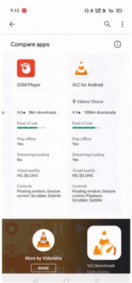 Google Play Store apps vergelijken