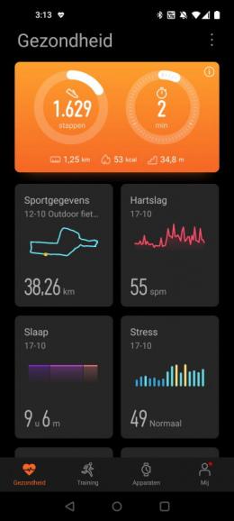 Huawei Gezondheid app startscherm