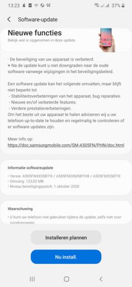 Samsung Galaxy A50 oktober update