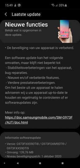 Samsung Galaxy S10 oktober update
