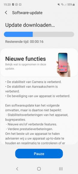 Samsung Galaxy S20 FE oktober update