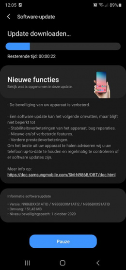galaxy note 20 oktober update