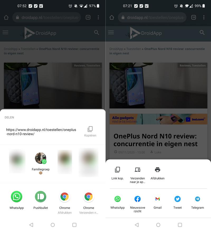 Chrome deel-menu