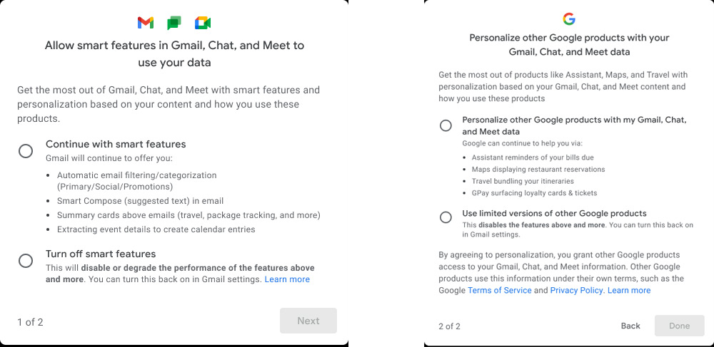 Google Privacy instellingen slimme features
