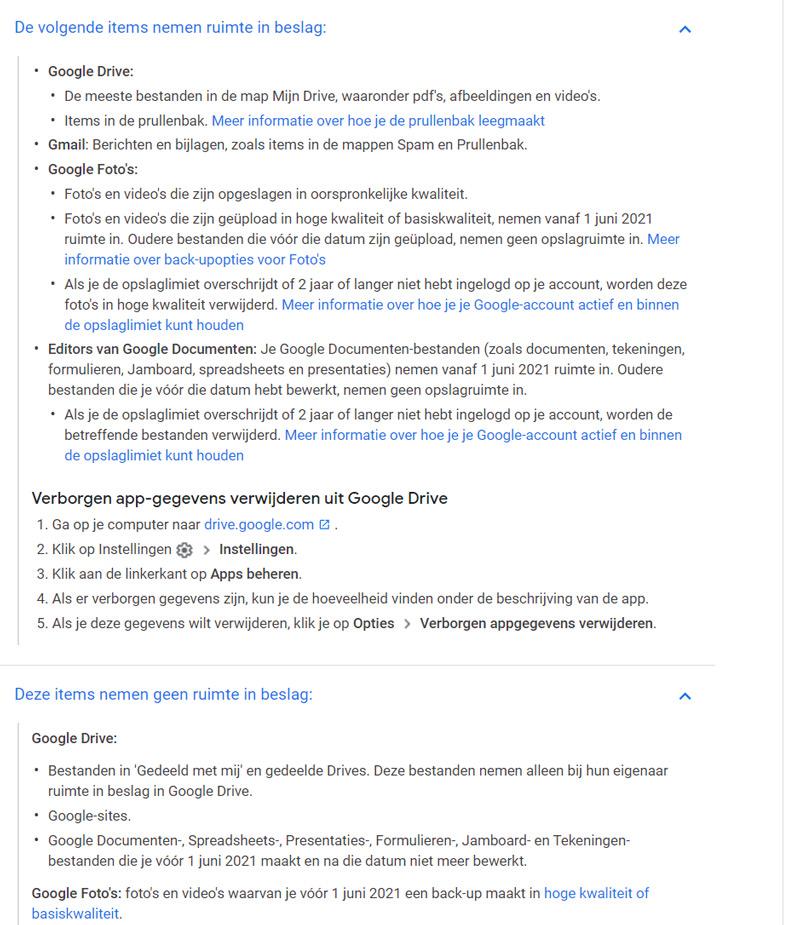 Google wat wel niet opslagruimte