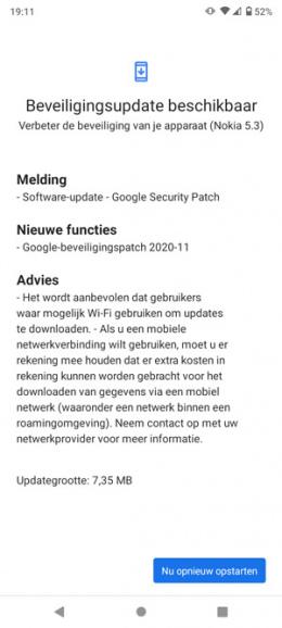 Nokia 5.3 beveiligingsupdate november 2020