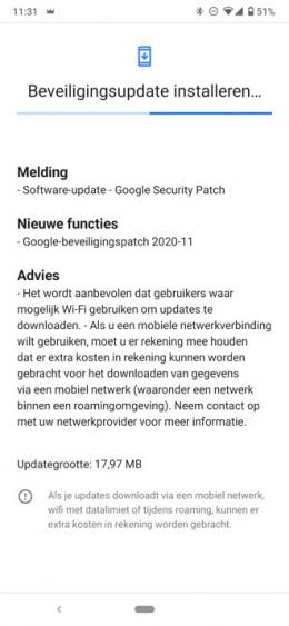 Nokia 6.2 beveiligingsupdate november 2020
