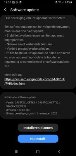 Samsung galaxy s9 november-update