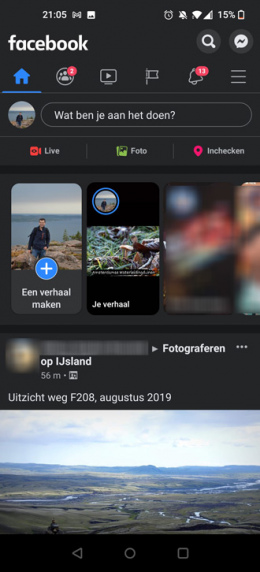 Facebook donker thema