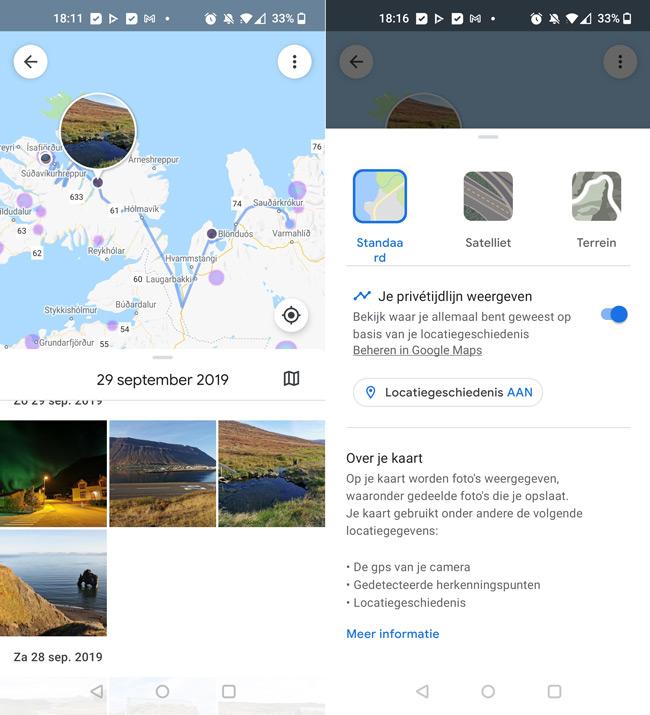 Google Foto's Maps tijdl;ijn