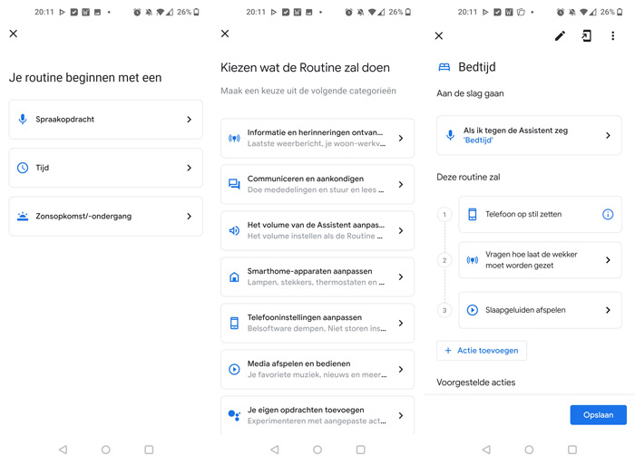 Google Home routines interface