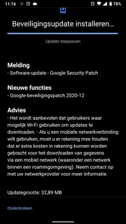 Nokia 6.1 beveiligingsupdate december 2020