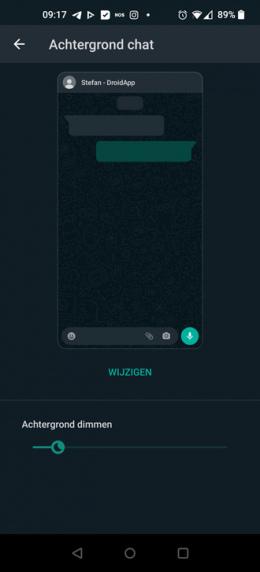WhatsApp achtergrond dimmen