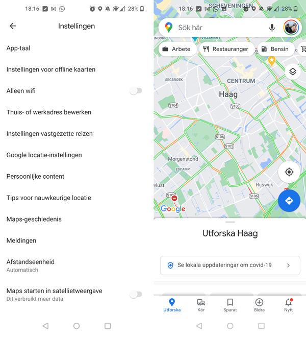 Google Maps taal