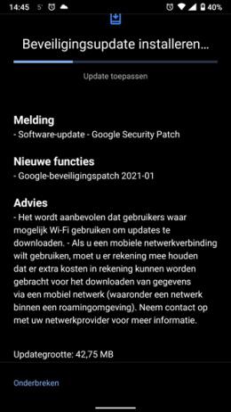 Nokia 6.1 beveiligingsupdate januari 2021