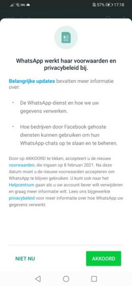 WhatsApp privacybeleid 8 februari 2021